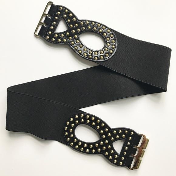 Betsey Johnson Accessories - Betsy Johnson Black & Gold Wide Stretch Belt